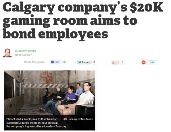 Metro News: Calgary company's $20K gaming room aims to bond employees