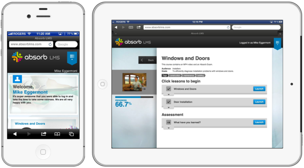 Absorb LMS displayed on an Apple iPhone and Apple iPad