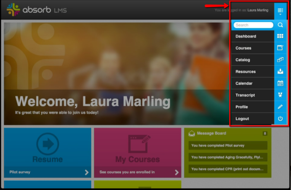 Absorb LMS navigation, placed within reach of the learner's thumb