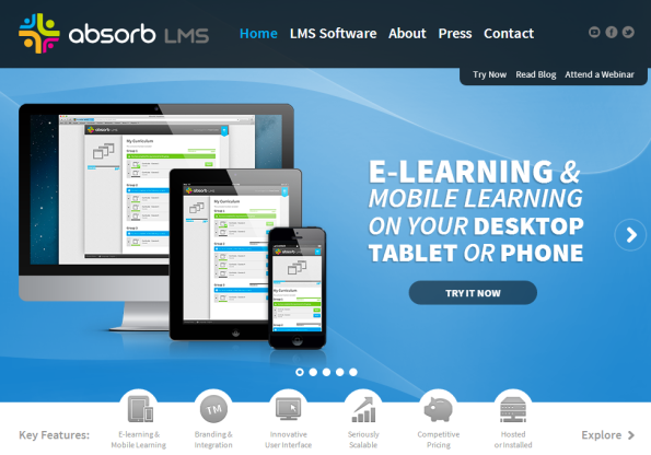 The new Absorb LMS Web site.