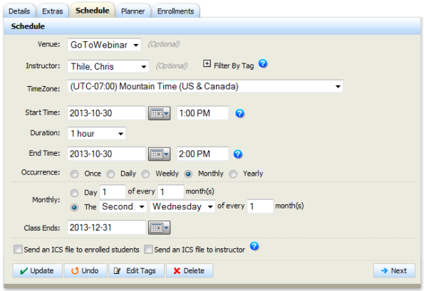 Absorb LMS-Scheduling of an instructor-led session